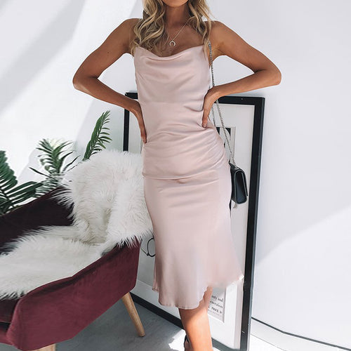 Solid Color Low-Cut Silk Slim Party Dress