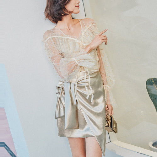 Metallic Satin Strap With Laced Irregular Skirt