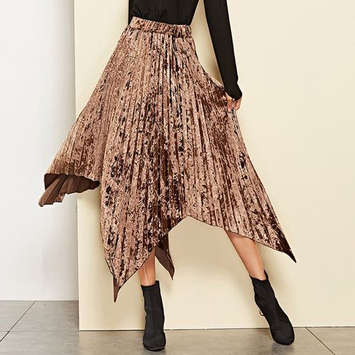 Pleated Elastic Irregular Large Swing Skirt