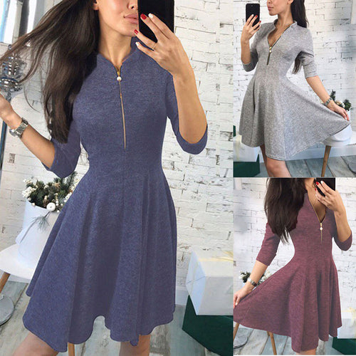 Zipper Small Stand Collar Sleeve Dress