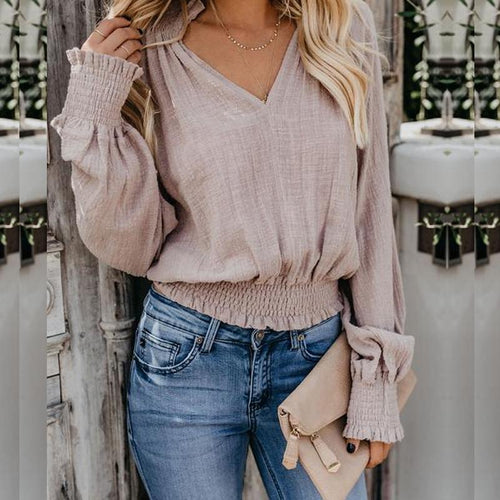 V-Neck Ruffled Cuff T-Shirt