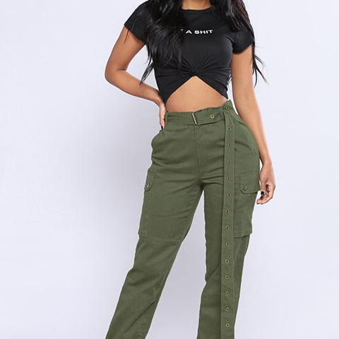 Casual Plain Slim Multiple Packets Pants