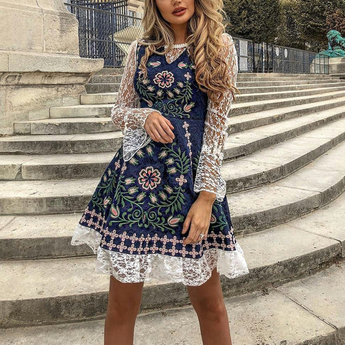 Lace Embroidered Print Stitching Court Retro Skater Dress