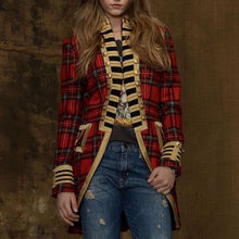 Load image into Gallery viewer, Fashion Long Sleeve Plaid Splicing Coat