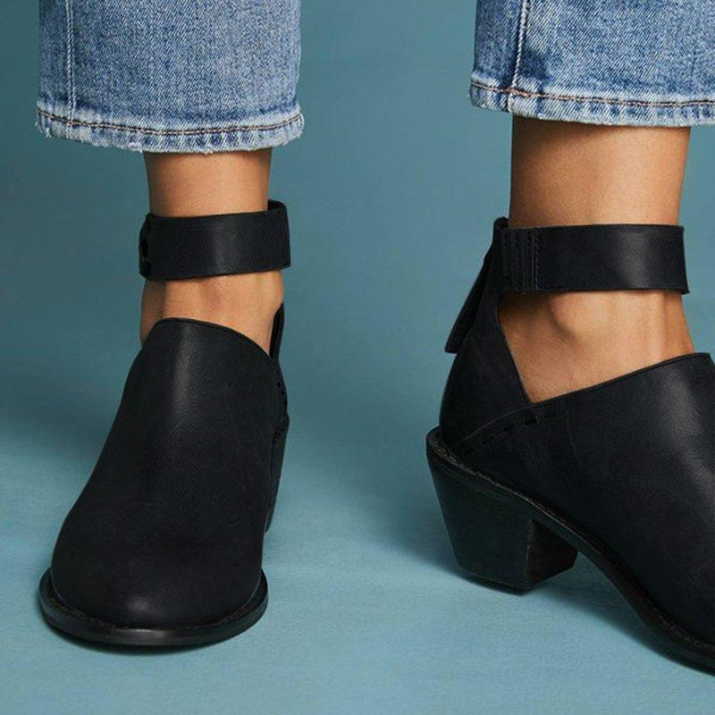 233eaf60dd1 Stylish Chunky Heel Ankle Strap Daily Zipper Boots
