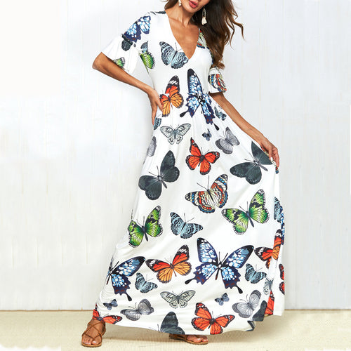 Fashion Loose Butterfly Floral Printed Maxi Dress