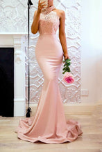 Load image into Gallery viewer, Pink Halter Neck Wedding Bodycon Maxi Dress