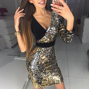 Fashion Sequin Stitching Bodycon Dress