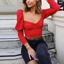 Load image into Gallery viewer, Sexy Square Neck Puff Sleeve T-Shirt