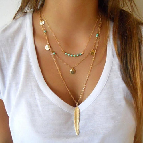 Layered Turquoise Embellished Leaf Feather Necklace