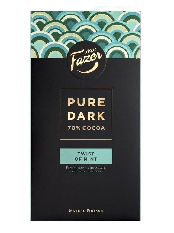 Fazer Pure Dark 70% Cocoa - Twist of Mint 95g