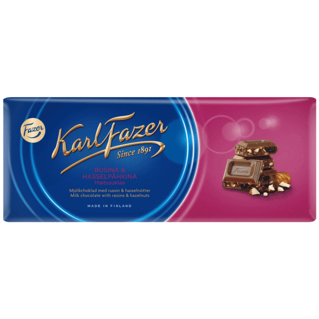Fazer Milk Chocolate w/ Raisins and Hazelnuts, 200g