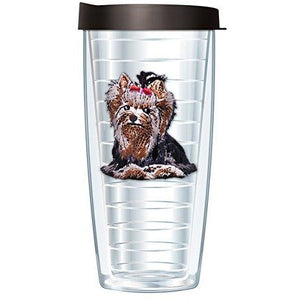 Signature Tumblers Yorkie Emblem Tumbler Cup with Black Lid - 16oz