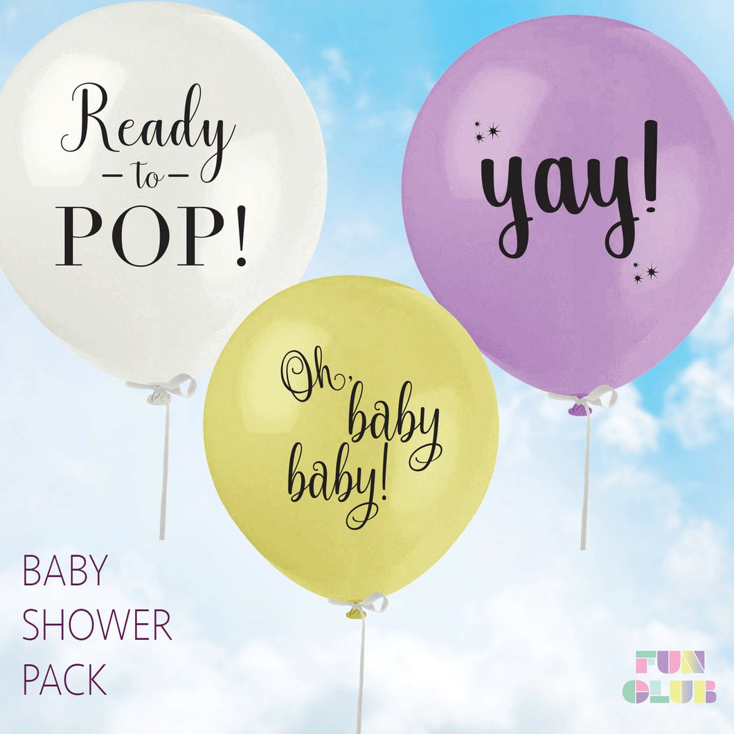 Fun Club! Assorted Baby Shower Pack Latex Balloons