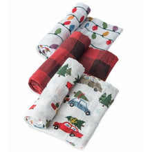 Load image into Gallery viewer, Little Unicorn 3 Pack Cotton Muslin Swaddles, Holiday Set