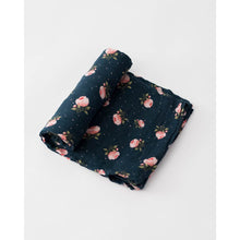 Load image into Gallery viewer, Little Unicorn Cotton Muslin Swaddle Blanket, Midnight Rose