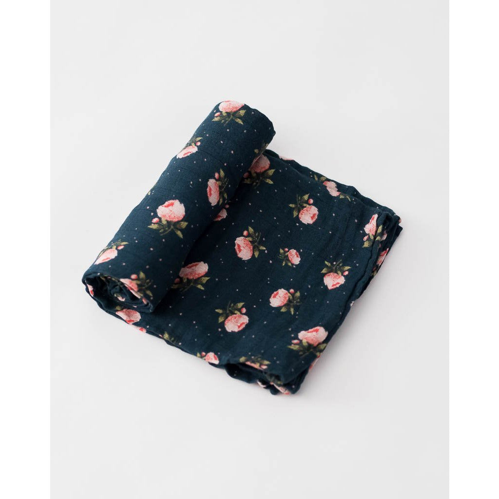 Little Unicorn Cotton Muslin Swaddle Blanket, Midnight Rose