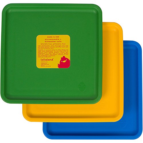 Lollaland Baby and Infant Feeding Mealtime Plate Set - 3 Pack (Green-Yellow-Blue Plates)
