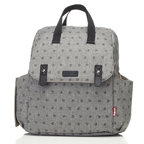 Babymel Robyn Convertible Backpack Diaper Bag, Gray Origami Heart, One size