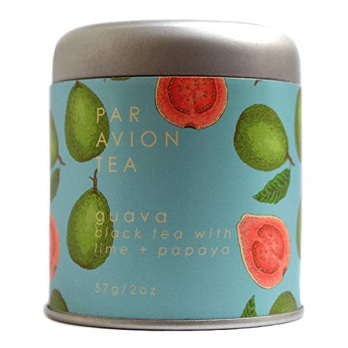 Par Avion Tea, Guava, Small Batch Loose Leaf Black Tea With Lime + Papaya, 2 oz