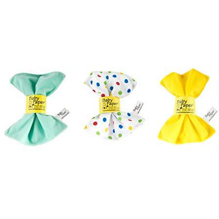 Baby Paper Crinkly Baby Toy SET of 3 - Polka Dot + Yellow + Mint