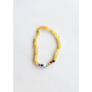 Canyon Leaf Raw Honey Amber & Chakra Crystals Kids Necklaces