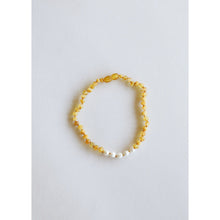 Load image into Gallery viewer, Canyon Leaf Raw Honey Amber & Pearls Kids Necklaces