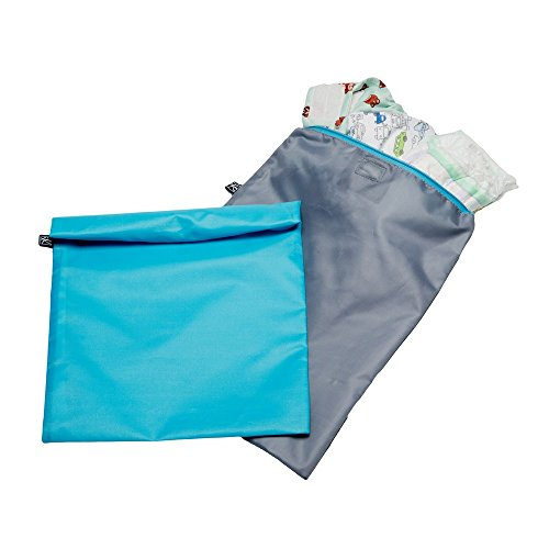 JL Childress Grey/Blue Wet-to-Go Wet Bags 2pk