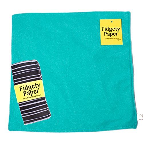 Sensory Crinkle Baby Fidget Paper Set, Large Turquoise + Pocket Black & Gray Stripes