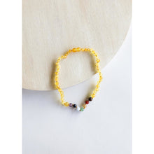 Load image into Gallery viewer, Canyon Leaf Raw Honey Amber & Chakra Crystals Kids Necklaces