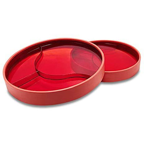 Stay-n-Eat - Large Plate-Transparent Red