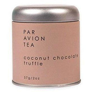 Par Avion Tea Coconut Chocolate Truffle, Black Tea Blend With Cocoa Beans and Toasted Coconut, Small Batch Loose Leaf Tea in Artisan Tin, 2 oz.