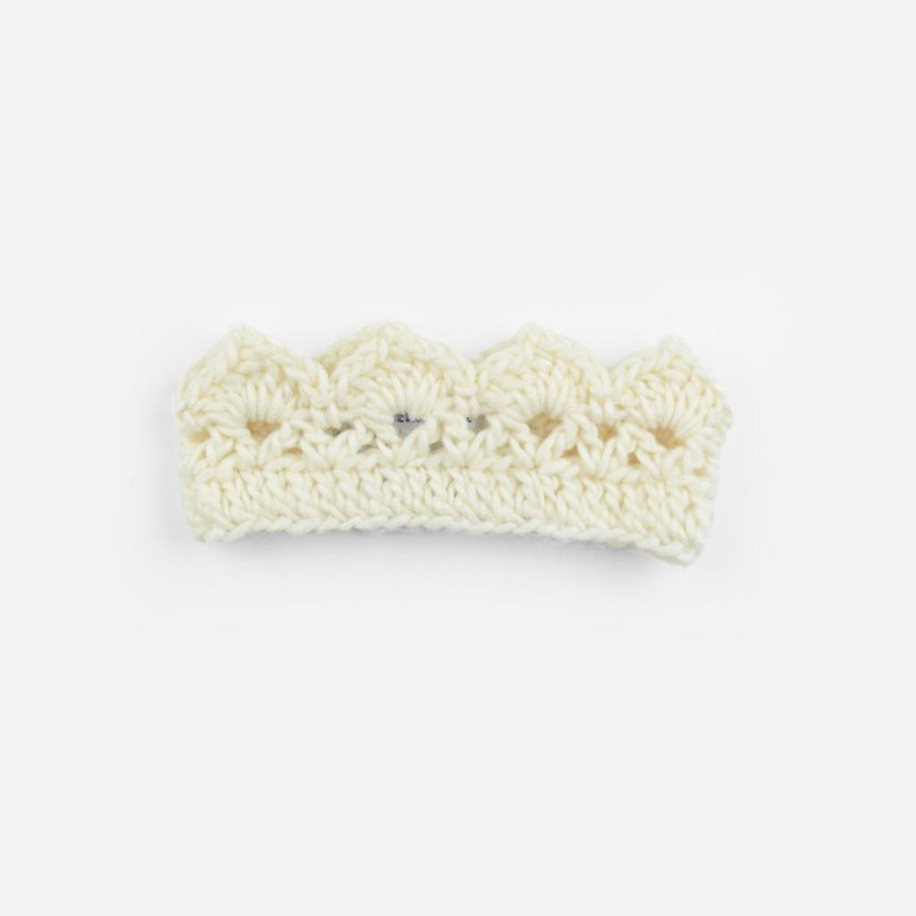 Blueberry Hill Cream Avery Crochet Crown, Small 12-24M
