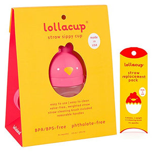 Lollacup Pink 10 oz Sippy Cup with Straw Replacement Pack