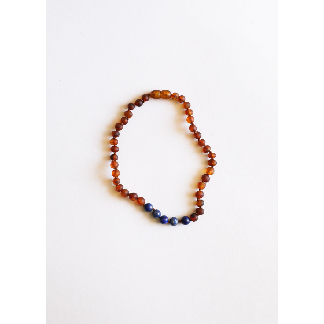 Canyon Leaf Baltic Amber & Lapis Stones Kids Necklace - 13