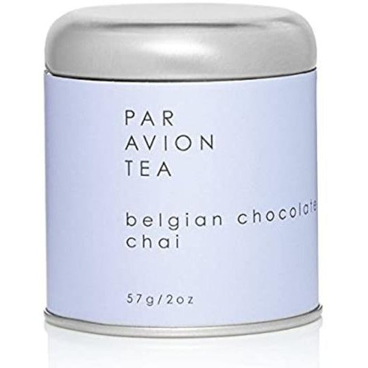 Par Avion Tea Belgian Chocolate Chai Tea, Small Batch Loose Leaf Black Tea in Artisan Tin, 4 oz.