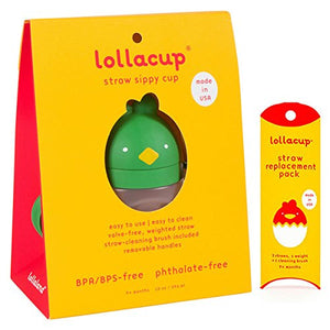 Lollaland Lollacup - Infant/Toddler Sippy Cup with Straw Replacement Pack (Green) - Made in USA - FDA Approved - BPA/BPS/Phthalate Free - Weighted Straw - Detachable Handle