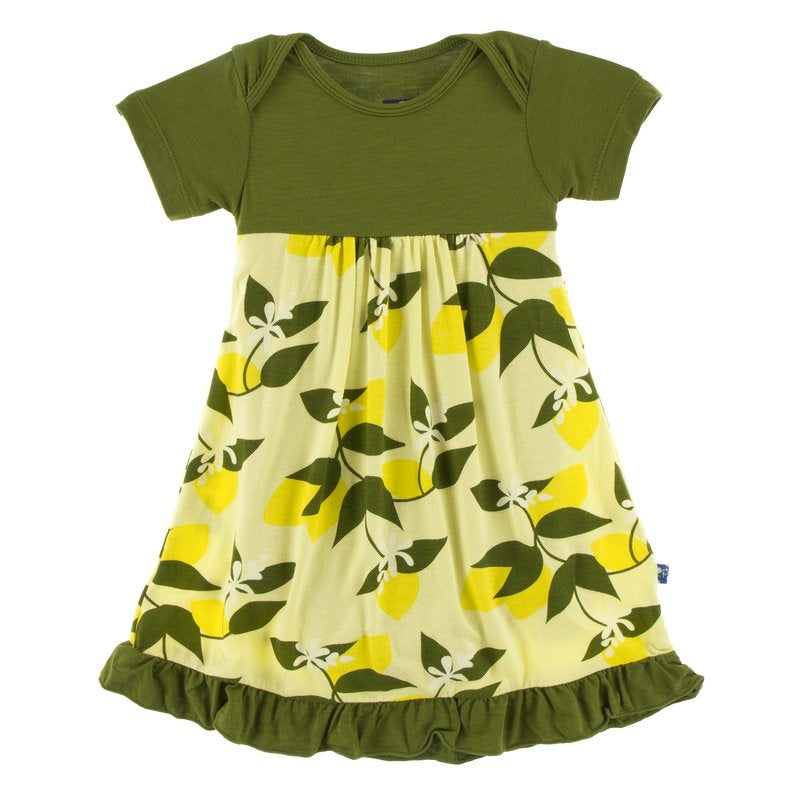 Print Short Sleeve One Piece Dress Romper (Lime Blossom Lemon Tree- 6-12 Months)