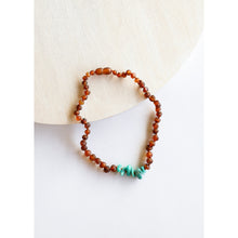 Load image into Gallery viewer, Canyon Leaf Raw Cognac Amber & Green Amazonite Kids Necklaces