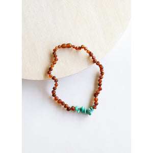Canyon Leaf Raw Cognac Amber & Green Amazonite Kids Necklaces