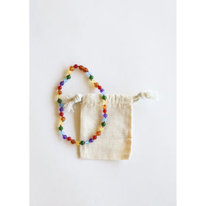 Canyon Leaf Raw Amber & Gemstone Rainbow Kids Necklaces