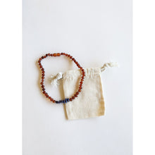 Load image into Gallery viewer, Canyon Leaf Baltic Amber & Lapis Stones Kids Necklace - 13""