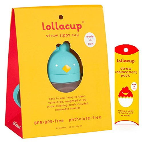 Lollacup Turquoise 10 oz Sippy Cup with Straw Replacement Pack