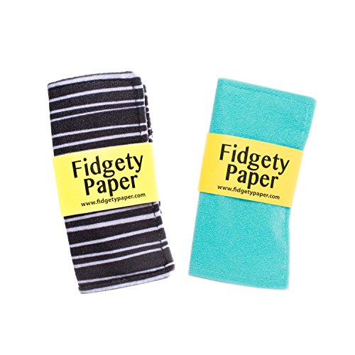 Sensory Crinkle Baby Fidget Paper Set, Pocket Turquoise + Pocket Black & Gray Stripes