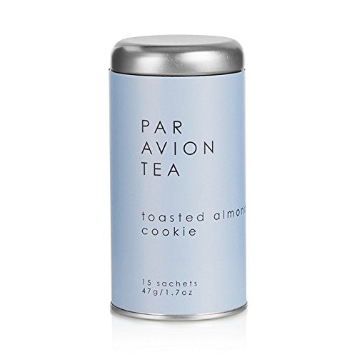 Par Avion Toasted Almond Cookie Tea Sachets in Artisan Tin, 4oz.