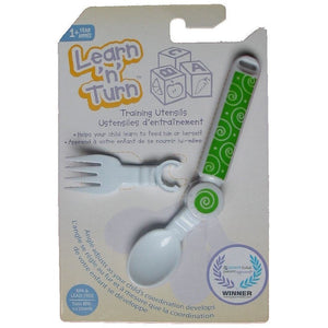 Learn 'N' Turn Adjustable Bendable Spoon and Fork Utensil, Green