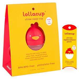 Lollacup Red 10 oz Sippy Cup with Straw Replacement Pack