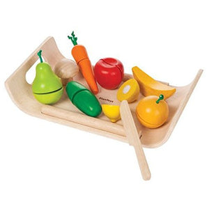 PlanToys Assorted Fruits and Vegetables (Solid Wood Version)