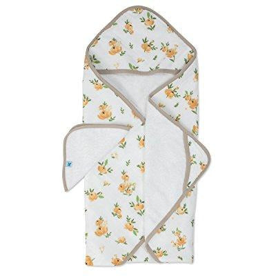Little Unicorn Hooded Towel and Wash Cloth Set, Yellow Rose