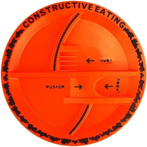 Constructive Eating Orange Construction Plate